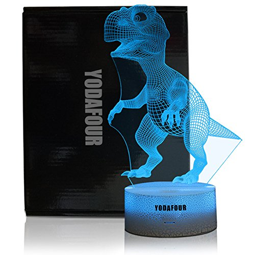 YODAFOUR Dinosaur 3D LED Illusion Night Light Lamp for Boys Children Teens, Birthday Easter Anniversary Party Gift, Table Desk Night Light for Nursery Room Dinosaur Lovers Bedroom Theme Decoration by by YODAFOUR