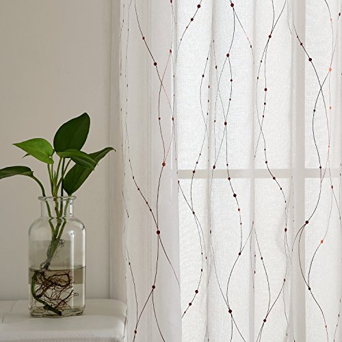 Deconovo White Sheer Curtains 96 Grommet Top Dots Foil Printed Sheers Linen Look Window Voile Curtains for Living Room 52W x 96L Dark Gold 2 - Sheer Dot Print