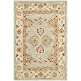 Cheap Safavieh Antiquities Collection AT822A Handmade Traditional Oriental Grey Blue and Beige Wool Area Rug (2′ x 3′)