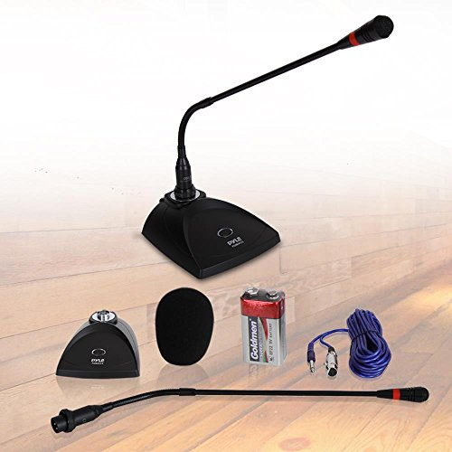 Desktop Gooseneck Wired Microphone System - Table Mounted Corded Voice Condenser Mic with Pop Filter - XLR to 1/4'' Sound Cord - for Karaoke, Conference, Studio Audio Recording - Pyle PDMIKC5 Black