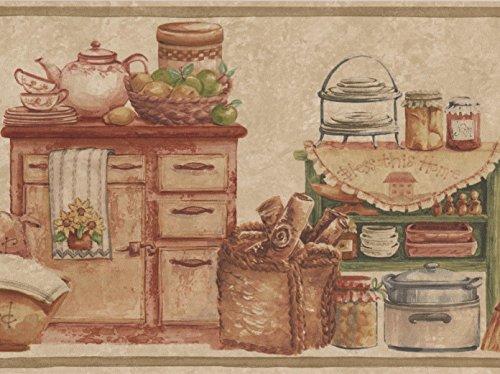 Kitchen Chests Food Jars Bread Fruits Beige Wallpaper Border Retro Design, Roll 15' x 7'' - Border Bread