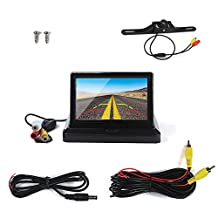 """5"""" Foldable Car TFT LCD Monitor Backup Camera License Plate Reverse Rear View Parking System Set (5 inch foldable)"""