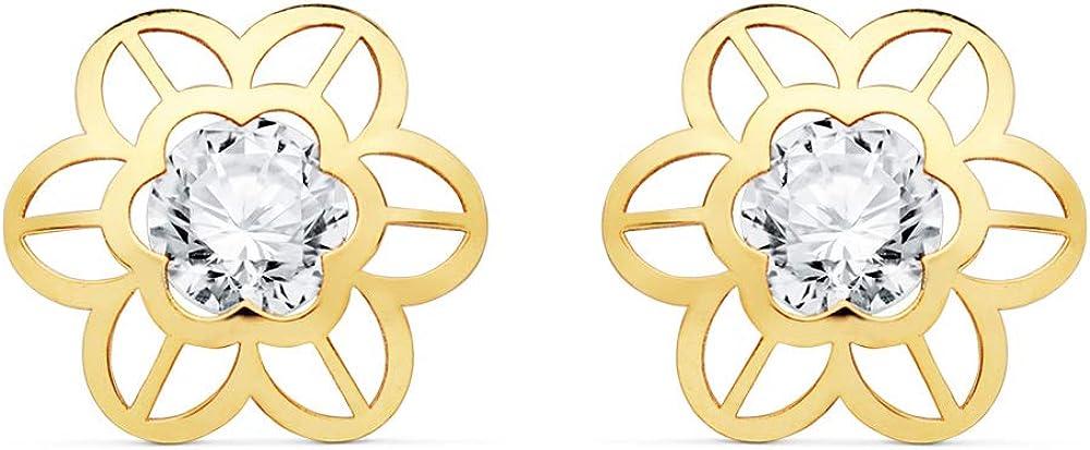 Pendientes Niña Flor Agda Oro 18K 9mm Pendientes Comunión