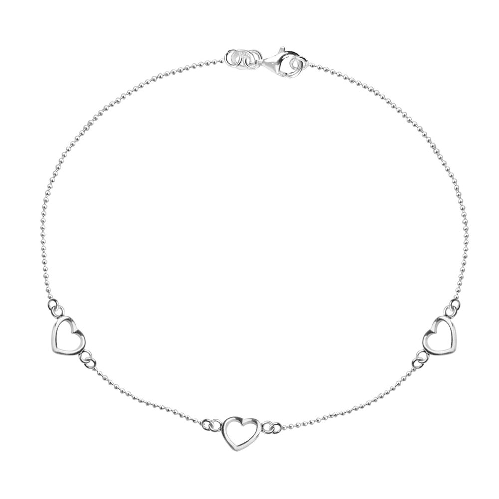 LeCalla Women's Sterling Silver Jewelry Triple Heart Cut Out Ball Chain Anklet