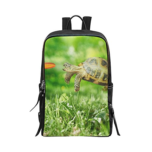 InterestPrint Unisex School Bag Casual Backpack Travel Daypack 15 Inch Laptop Bag Funny Turtle Jumps and Catches The (Jump Catch)