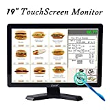 19 Inch High Res LED Monitor Built-in Touch Screen Display - 1440x900 Resolution VGA for PC POS Cashier Restaurant Bar Coffee Store
