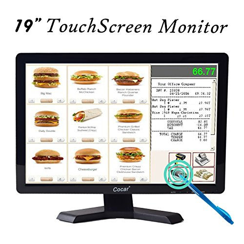 19 Inch High Res LED Monitor Built-in Touch Screen Display - 1440x900 Resolution VGA for PC POS Cashier Restaurant Bar Coffee Store (Best Resolution For 19 Inch Monitor)