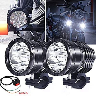 Motorcycle ATV Driving Lights, 2Pcs 40W Spotlights Fog Auxiliary Lights Cree 12V 24V Front Work Universal Headlight For E-Bike Truck Jeep Car Boat With Switch: Automotive