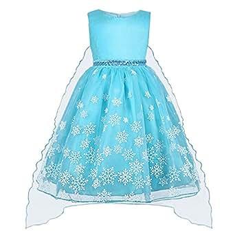 Vicloon Vestido para Niñas de Copo de Nieve Princesa del Hielo y Nieve Falda/Vestido de Tutú Azul para Ceremonias/Fiestas/Cumpleaños