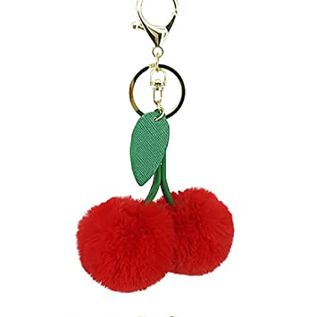 Pretty Red Rabbit Fur Key Ring For Womens Clutch Satchels Hand Bags Cheap