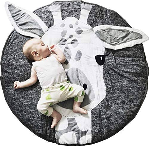 GABWE Round Giraffe Rug Carpet Cotton for Baby Floor Play mats Nursery Kids Room Decoration 35.4 inches ()