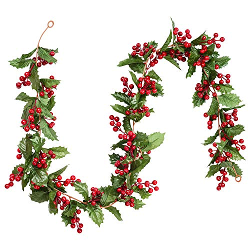 DearHouse 6FT Red Berry Christmas Garland, Flexible Artificial Berry Garland for Indoor Outdoor Hone Fireplace Decoration for Winter Christmas Holiday New Year Decor (For Fireplace Christmas Garlands)