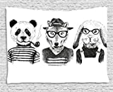 Ambesonne Animal Tapestry, Hipster Panda Bear Cigar Fox and Rabbit Glasses in Human Clothes Illustration, Wall Hanging for Bedroom Living Room Dorm, 60 W X 40 L Inches, Black Grey White