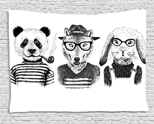 Animal Tapestry by Ambesonne, Hipster Panda Bear Cigar Fox and Rabbit Glasses in Human Clothes Illustration, Wall Hanging for Bedroom Living Room Dorm, 60 W X 40 L Inches, Black Grey White