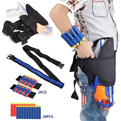Fury Strike Holster Belt Kit for Nerf N-Strike Elite Series - Accessories Includes Holster Waist Bag, Bandolier Strap, 2 Pcs Wrist Ammo Holder, & 20 Refill Darts