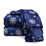 Heavyweight 100% Cotton Flannel Sheet Set, King - Blue Snowflake - Luxurious Soft Hypoallergenic and Very Silky Bedding Fabric Enjoy A Comfortable Sleeping Experience, By Nestl Bedding