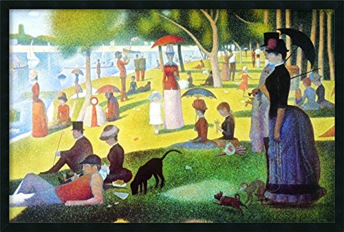 Framed Wall Art Print Sunday Afternoon on The Island of La Grande Jatte, 1884-1886 by Georges Seurat 37.25 x 25.25 (George Seurat A Sunday On La Grande Jatte)