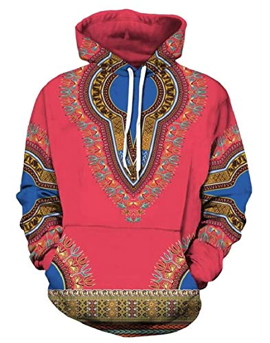 Dashiki Mujer Capucha Con Africano Y Sudadera De Bolsillo 3 Chyedas Estampado Para Otoño x8FBwYqEZ1
