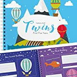 The Adventure Edition - Twins First Five Years Memory Book with Stickers - Baby 1st Year Milestone Photo Album - Newborn Hard Cover Journal - Babies Personalized Keepsake Scrapbook Diary