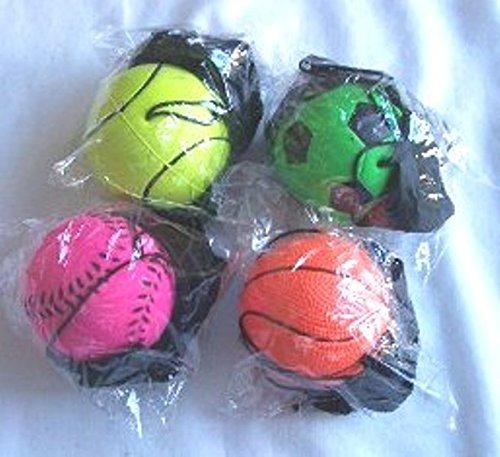 12 Pcs Return Rubber Sport Ball On Nylon String With Wrist