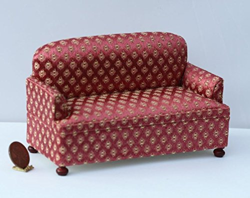 Dollhouse Miniature Cherry Damask Upholstered Comfy Sofa w/ Walnut (Cherry Upholstered Game)