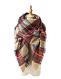 Spring Fever Cozy Plaid Long Winter Shawl Lattice Oversized Blanket Scarf Wrap A16
