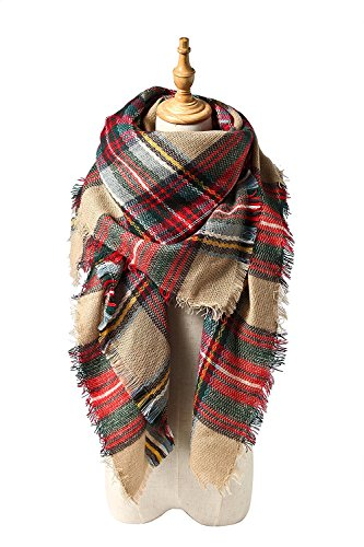 - Spring Fever Winter Magnetic Knit Tartan Plaid Wrap Cashmere Feel Large Lightweight Scarf for Women A16