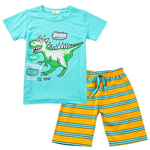 Gallity Kids Boys Cartoon Dinosaur Print Tops T-shirt+Summer Beach Striped Shorts Pajamas Set (18-24 Months, Blue)