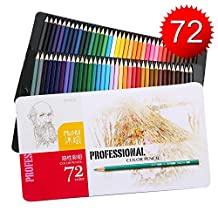 Colored Pencils, Set of 72 Oil Based Adults&Kids, Triangular-shaped for Easy Grip, Pre-sharpened, Rich & Vibrant Unique Colors