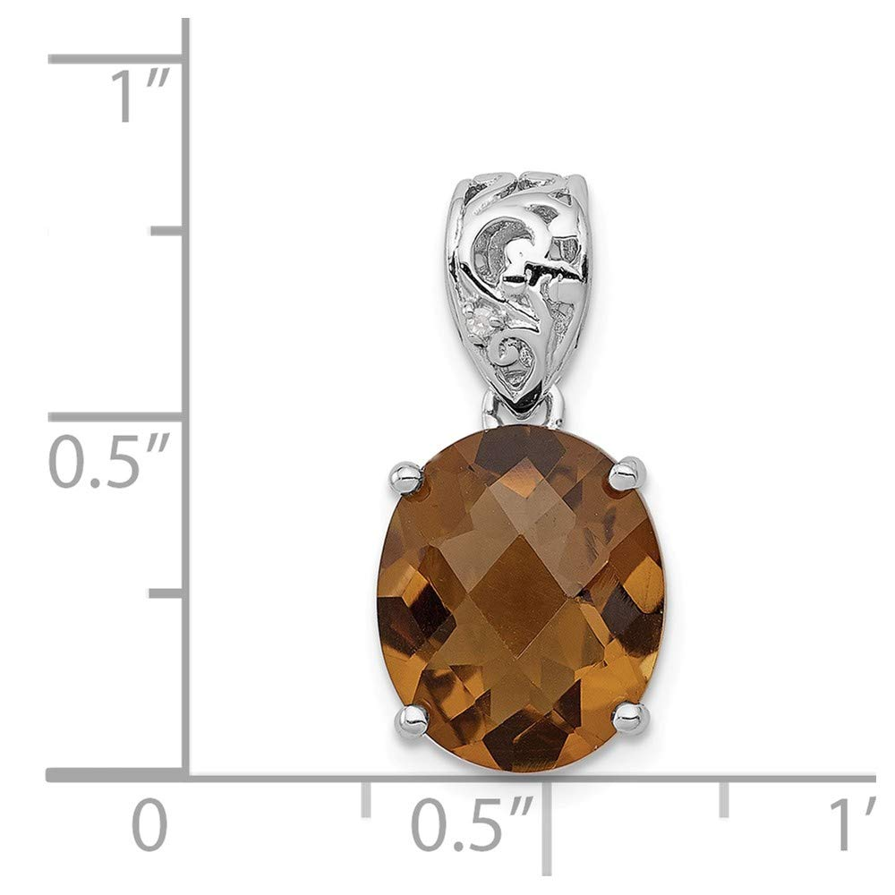 Solid 925 Sterling Silver Brown Smoky Simulated Quartz /& Diamond Pendant 10mm x 20mm