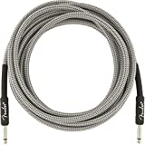 Fender PRO 15\' INST Cable WHT TWD, 1/4-Inch Straight Electric Guitar Electronics (990820066)