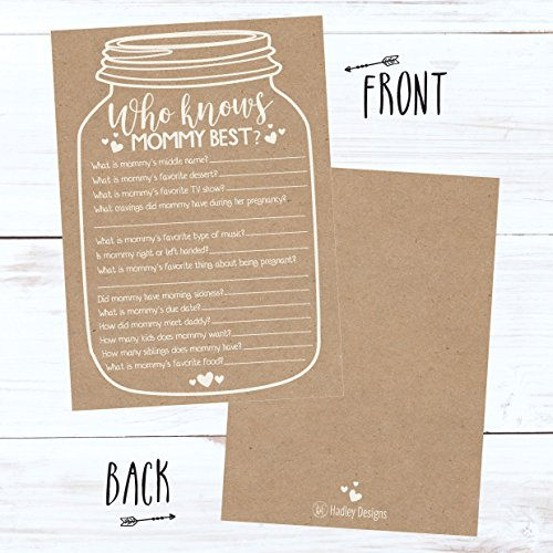 25 Rustic Mason Jar Baby Shower Games Ideas for Boys Or Girls, Fun Party Activities Who Knows Mommy Best Gender Neutral Reveal New Parent Guessing Funny Questions Pack Kids, Mom, Dad and Coed Couples by Hadley Designs (Image #2)