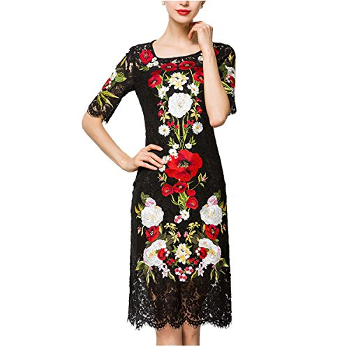 Floral Embroidered Dress - Tuliplazza Women's Floral Cocktail Party Prom Midi Embroidered Lace Dress,Black,Medium