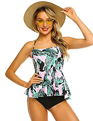 ADOME Women's 2 Pcs Swimsuit Set Vintage Floral Print Ruffle Tankini Top with Triangle Bottom Halter Retro Bathing Suit