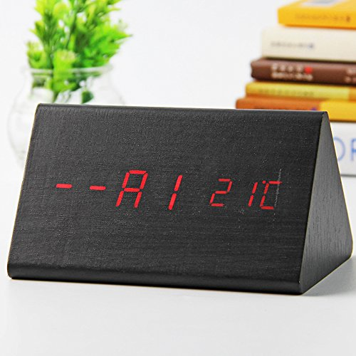 Student dormitories of wood clock personalized fashion watches sound creative LED alarm clock bedroom bedside clock digital clock,S710-wooden black red
