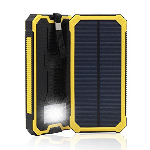 Waterproof Solar Charger Power Bank 15000mAh Solar External Battery Bank with Dual USB Portable External Solar Power Bank Charger for Iphone 7 6 Plus 5 Galaxy S7 6 5 HTC and most Smart Phones Tablets JU-TS888 (Yellow)