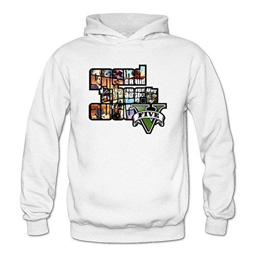 Price comparison product image ZhMao Women's GTA V Grand Theft Auto Game Logo Hoodied Sweatshirt Size L White