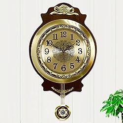HCJGZ JCRNJSB European Style Living Room Wall Clock Modern Antique Mute Brass Creative Swing Wall Pastoral Table Wall-mounted suspension Clocks Wall Clocks Quart (Color : #1)