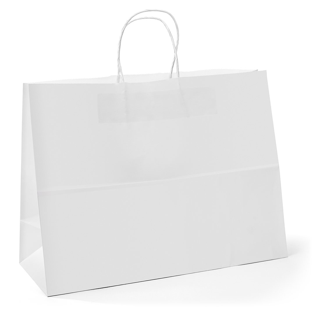 GSSUSA 16x6x12 Inches 100Pc Kraft Paper Bags with Handles Bulk White Paper Shopping Bags Grocery Bags Mechandise Retail Bags, 100% Recyclable Large Paper Gift Bags 100% Recyclable Paper