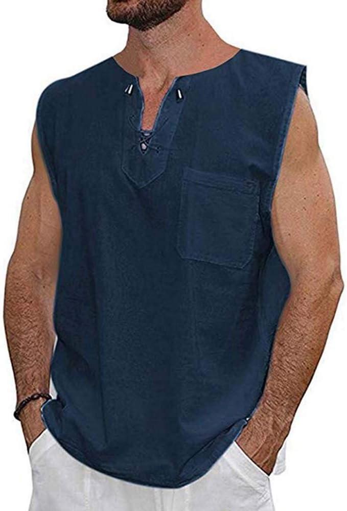 Camisas de algodón sin Mangas Nuevas de Verano para Hombres, Chaleco con Cuello en V para Hombre con Cordones: Amazon.es: Ropa y accesorios