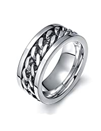 Zarbrina 8mm Silver Solid Titanium Comfort-Fit Band Ring with Center Black IP Plated Chain Spinner Ring