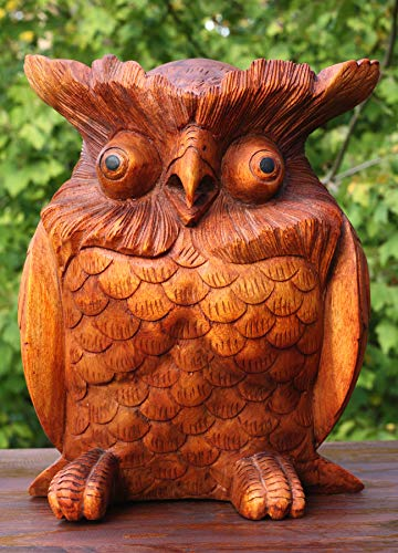G6 Collection Large Solid Heavy Wooden Hand Carved Owl Statue Figurine Sculpture Art Decorative Rustic Home Decor Accent Handmade Handcrafted Decoration (12