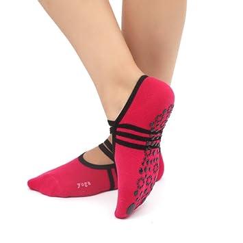XRHYJW 3Pcs Calcetines De Yoga Mujeres Antideslizante Vendaje De Algodón Deportes Yoga Calcetines Señoras Ventilación Zapatillas De Ballet De Baile Baile ...