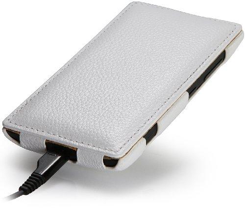 StilGut UltraSlim, funda exclusíva en piel auténtica para el Nokia Lumia 520, Rojo Blanco