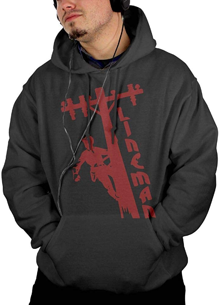 Comfortable 100/% Cotton Outwear with Pocket for Men Mens I Love My Lineman Pullover Hoodie