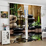 smallbeefly Spa Blackout Window Curtain Asian Zen Massage Stone Triplets with Herbal Oil and Scent Candles Print Customized Curtains 72''x72'' Black Brown and White