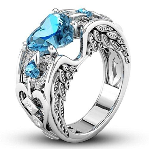 Aniywn Silver Natural Heart Shaped Ruby Gemstones Birthstone Bride Wedding Engagement Heart Ring  7   Sky Blue 1
