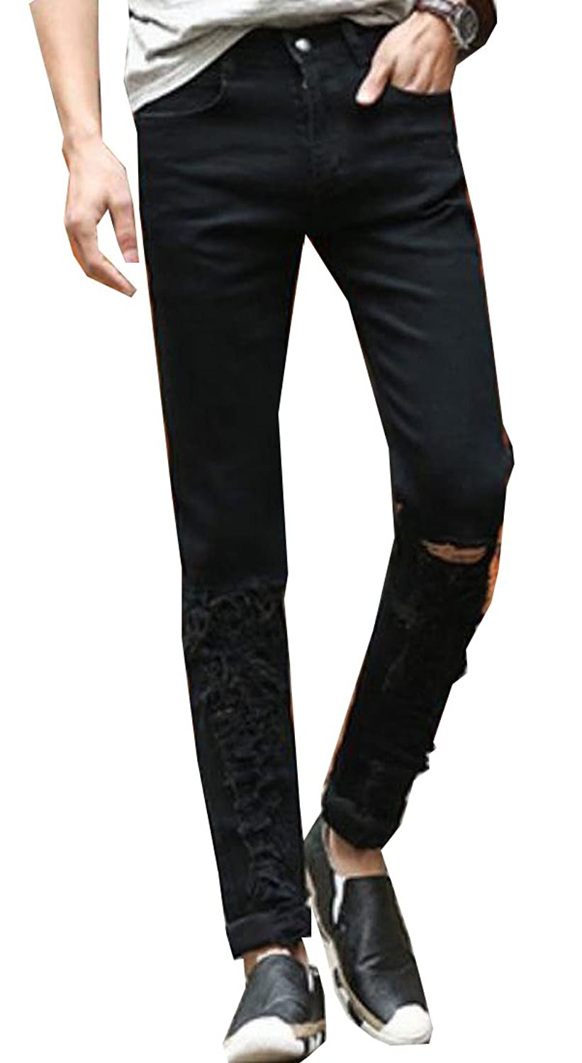 NQ Men's Denim Broken Hole Slim Comfort Regular-Fit Stylish Washed Pants