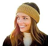 Surhilo Talara Alpaca Knit Head Warmer - Gold - Winter Luxury Handmade Headband