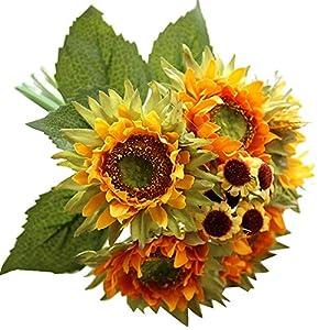 ♛Euone Fake Sunflower ♛Clearance♛, 5 Heads Beauty Fake Sunflower Artificial Silk Flower Bouquet Home Floral Decor 76